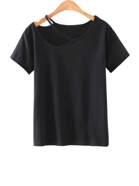 new Solid Color Cut-Out T-Shirt - BLACK M Mobile