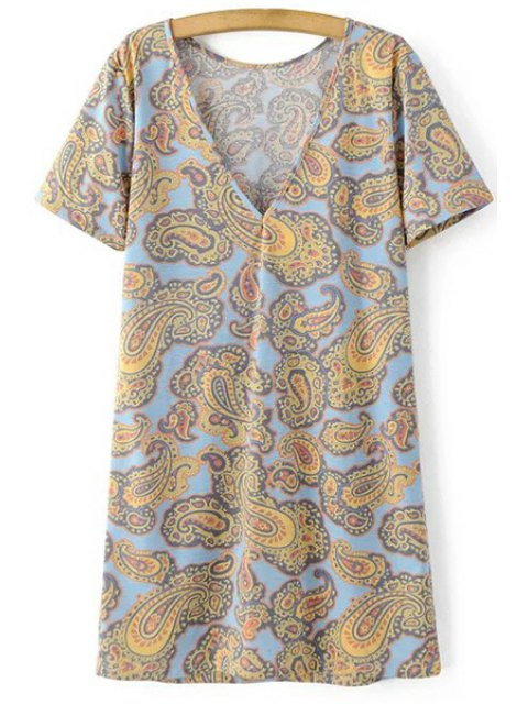 trendy V-Back Paisley Print Tee Dress - COLORMIX L Mobile
