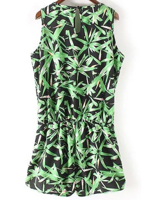 hot Sleeveless Bamboo Leaf Playsuit - GREEN S Mobile