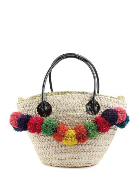 lady Weaving Straw Colorful Pompon Shoulder Bag - WHITE  Mobile