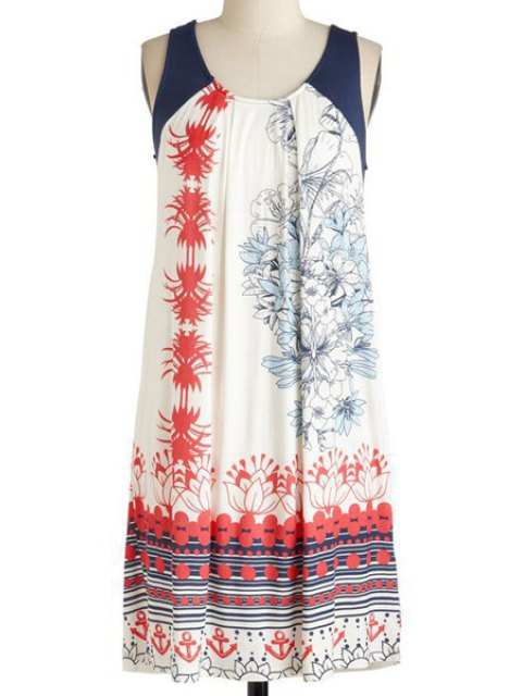 lady Printed Sleeveless Round Collar Dress - WHITE XL Mobile