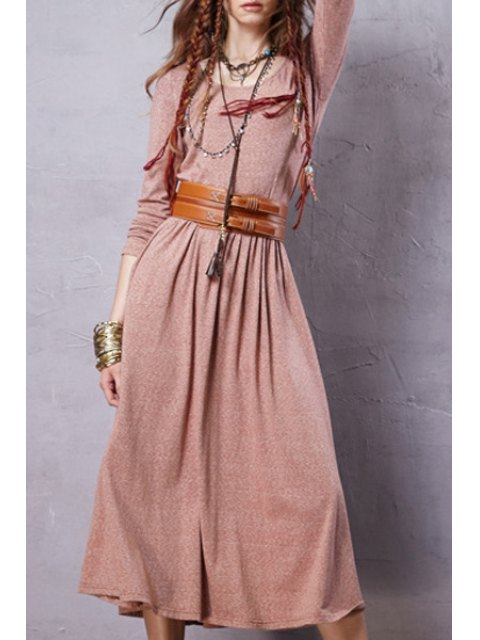 best Solid Color Long Sleeve Scoop Neck Dress - PINK XL Mobile