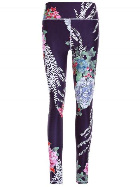 Sporty Floral Pantalons Imprimer Minceur Femmes - Noir L Mobile