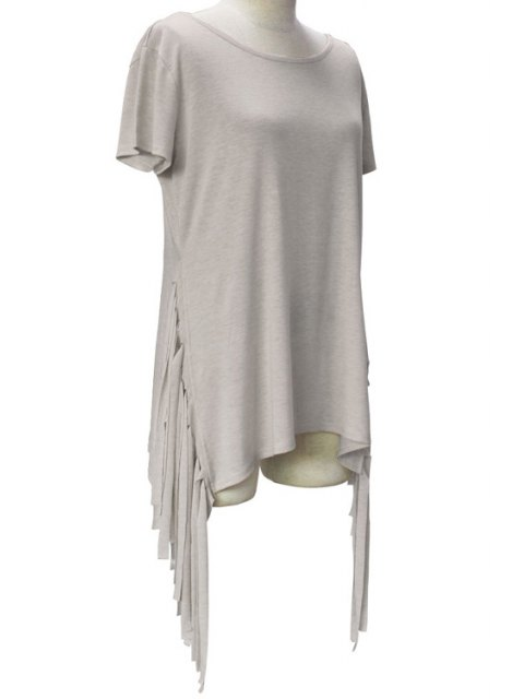 women's Short Sleeve Tassels Spliced Round Collar T-Shirt - LIGHT GRAY XL Mobile