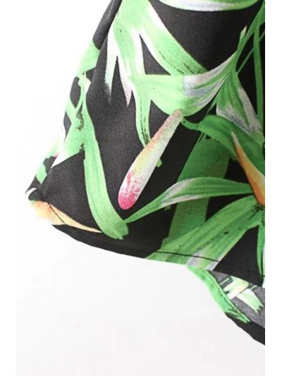 Sleeveless Bamboo Leaf Playsuit - GREEN M Mobile