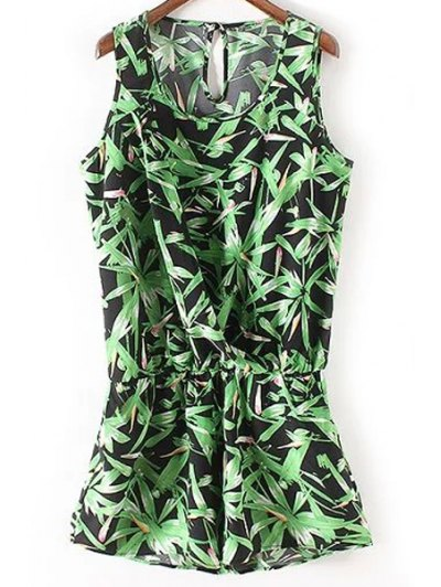 Sleeveless Bamboo Leaf Playsuit - GREEN L Mobile