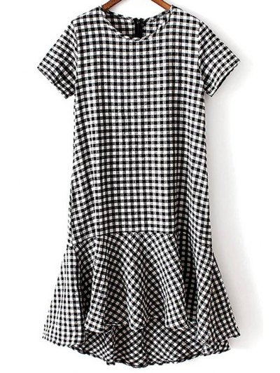 Round Neck Short Sleeve Ruffle Hem Plaid Dress