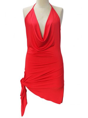 Backless Irregular Hem Halter Asymmetrical Bodycon Dress - Red