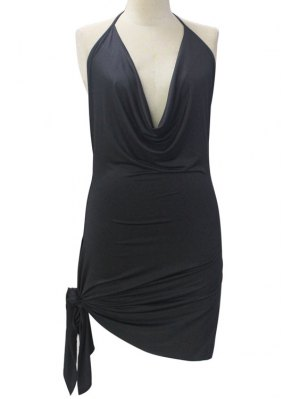 Backless Irregular Hem Halter Asymmetrical Bodycon Dress - Black