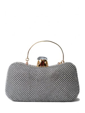 Rhinestone Metal Solid Color Evening Bag - Silver