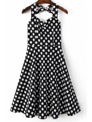 Polka Dot Print Halter Neck A Line Dress - Black