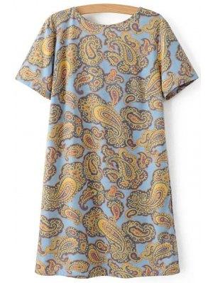 V-Back Paisley Print Tee Dress