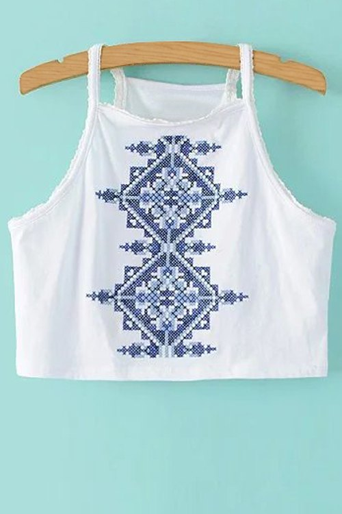 Embroidered Smocked Crop Top