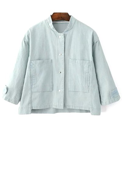 Stand Neck 3/4 Sleeve Big Pocket Denim Jacket