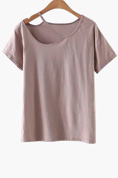 Solid Color Cut-Out T-Shirt