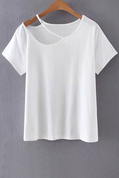 Solid Color Cut Out T Shirt White Tees Zaful