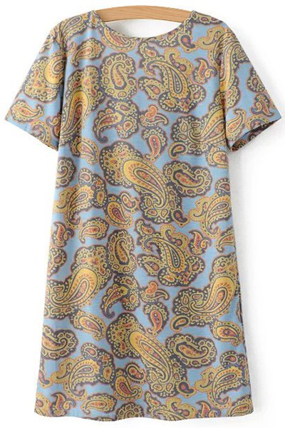 V-Back Paisley Print Tee Dress