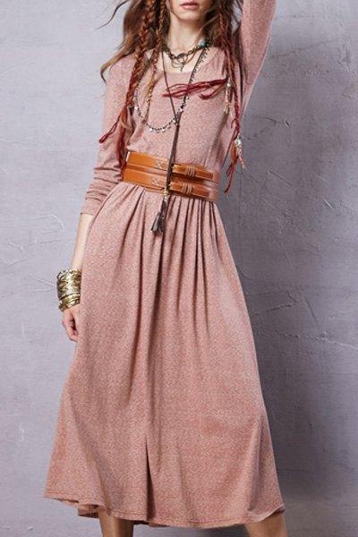 Solid Color Long Sleeve Scoop Neck DressClothes<br><br><br>Size: XL<br>Color: PINK
