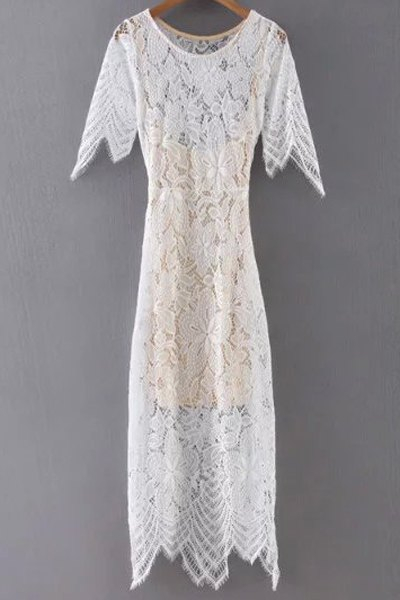 Short Sleeve White Lace Dress and Cami Dress Twinset
