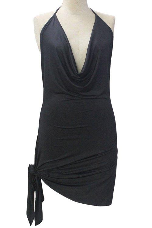 Halter Solid Color Irregular Hem Backless Dress
