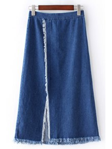 Front Slit Frayed Denim Skirt - Blue M