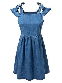 Square Neck Ruffle Sleeve Denim Dress - Blue