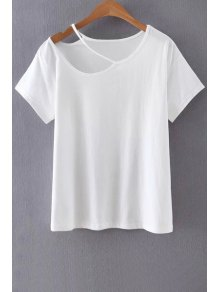 Solid Color Cut-Out T-Shirt - White