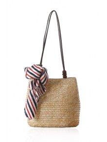 Scarf Weaving Straw Shoulder Bag - Off-white