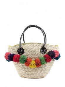 Weaving Straw Colorful Pompon Shoulder Bag