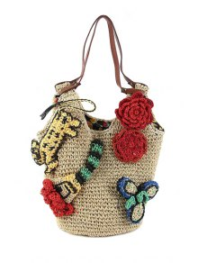 Straw Flower Knitted Shoulder Bag