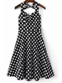 Polka Dot Print Halter Neck A Line Dress