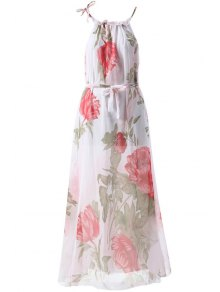 Floral Print Sleeveless Round Collar Maxi Dress