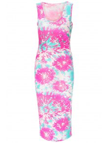 Printed Scoop Neck Sleeveless Bodycon Dress