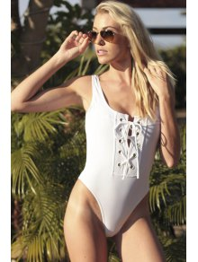 Lace-Up One-Piece Thong Swimwear - White