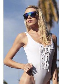 Lace-Up One-Piece White Bandage Swimwear - WHITE S