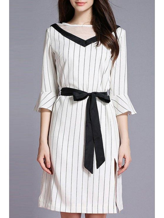 Vestido a Rayas de Contraste con Abertura Lateral con Cinturón - Blanco XL