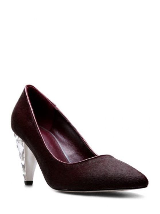 Rhinestone Horsehair Pointed Toe Pumps - WINE RED 39 Mobile