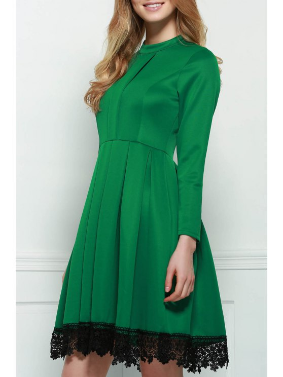 Lacework Stand Collar Flare Dress - GREEN S Mobile