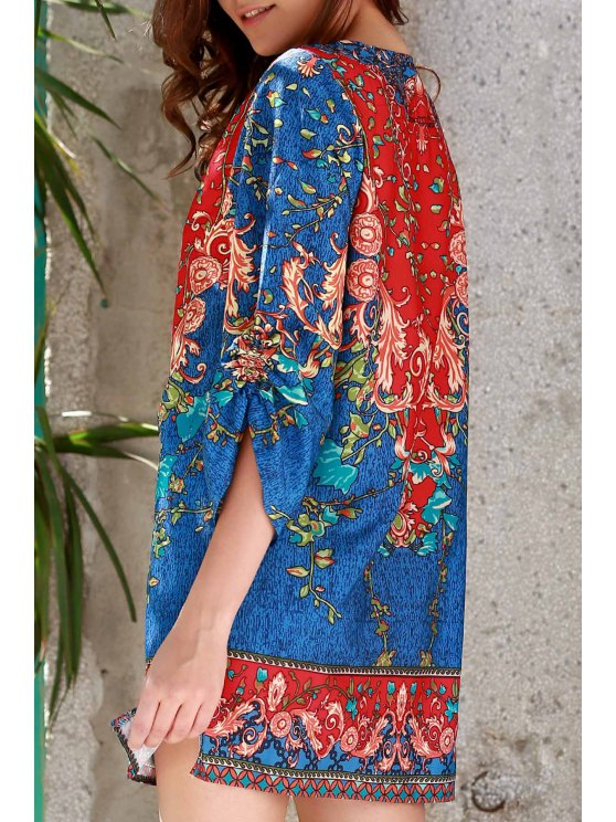fashion 3/4 Sleeve Vintage Print Dress - PURPLISH BLUE S