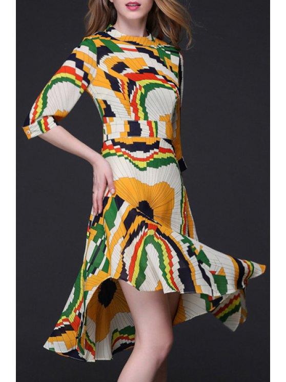 buy Geometric Print Flouncy Ruffle Hem Dress - COLORMIX L