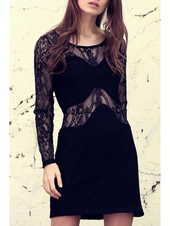 latest Solid Color Lace Spliced See-Through Long Sleeves Dress - BLACK XS