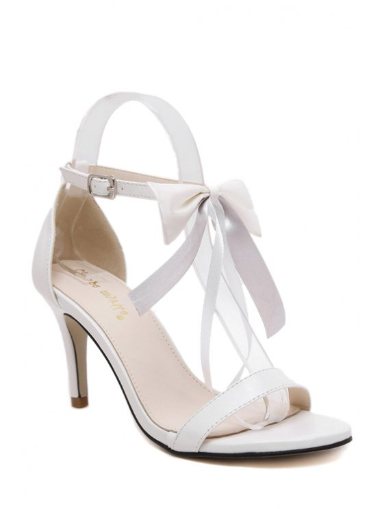 Bowknot Stiletto Heel Ankle Sandales Strap - Blanc 35