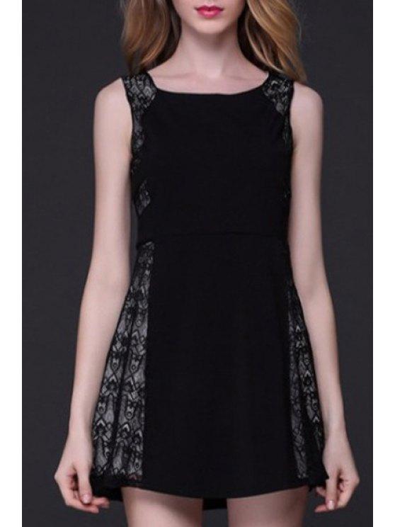 Patchwork A-Line Tank Dress Lace - Noir XL