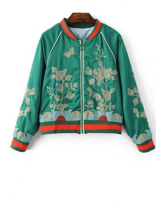 shops Floral Embroidered Stand Neck Long Sleeve Jacket - GREEN M