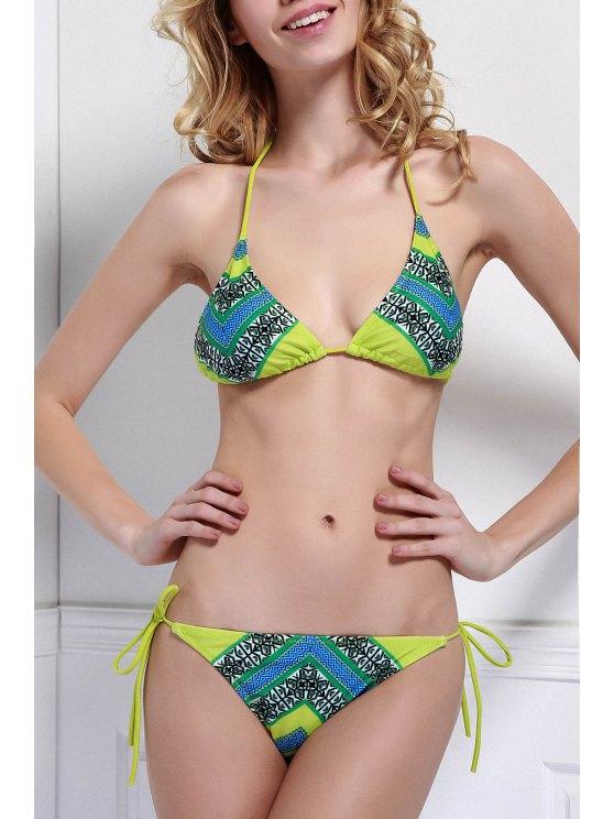 Halter Neck Color Block Plaid Print Bikini Set - COLORMIX L Mobile