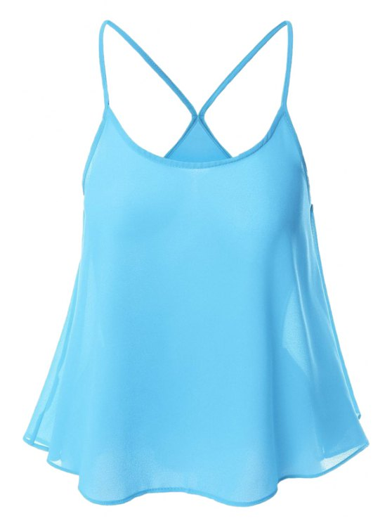 affordable Candy-Colored Chiffon Cami Top - AZURE L