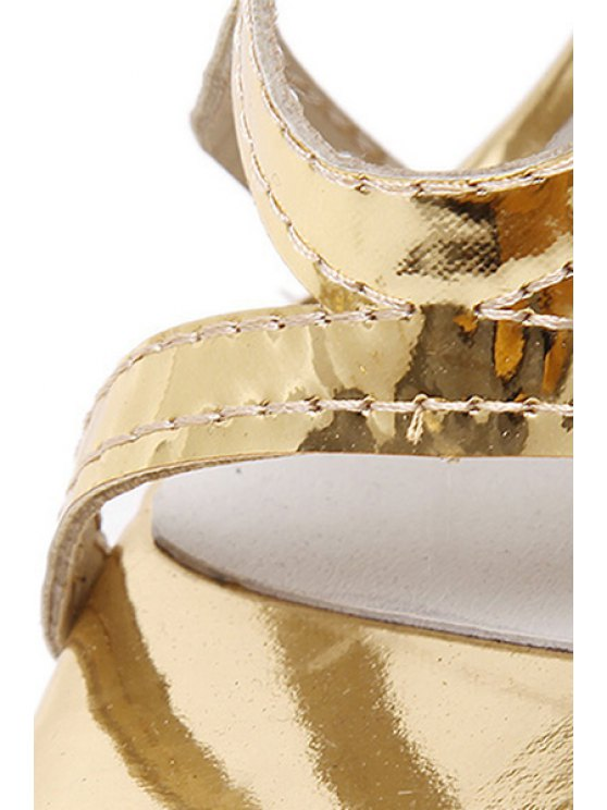 Stiletto Heel Hollow Out Solid Color Sandals - GOLDEN 35 Mobile