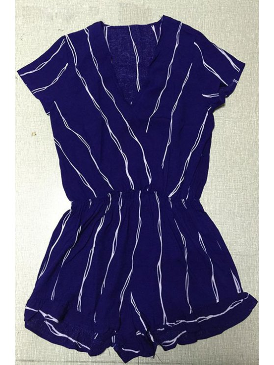 Cross-Over Collar Striped Playsuit - PURPLISH BLUE L Mobile