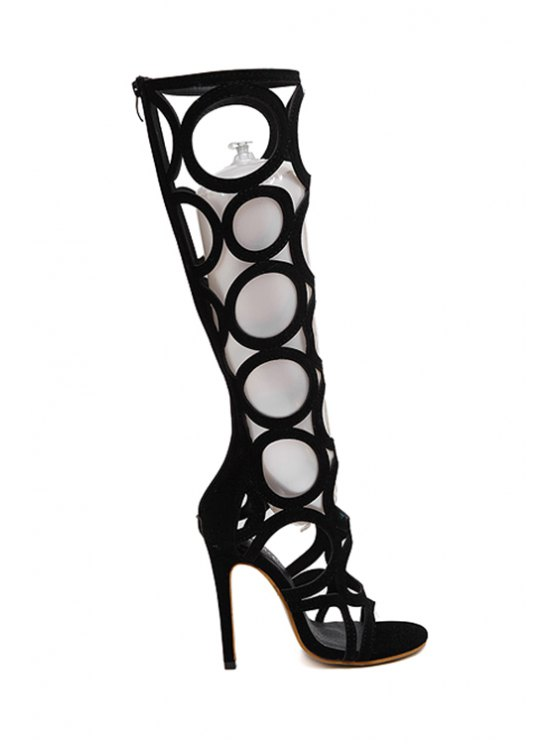Knee-High Hollow Out Black Sandals - BLACK 36 Mobile