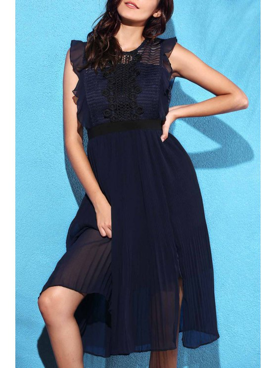 outfits Lace Spliced Round Collar Sleeveless Waisted Dress - CADETBLUE L